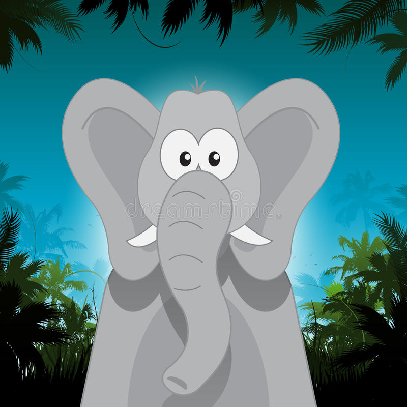 Elefante bonito dos desenhos animados na frente do fundo da selva ilustração do vetor