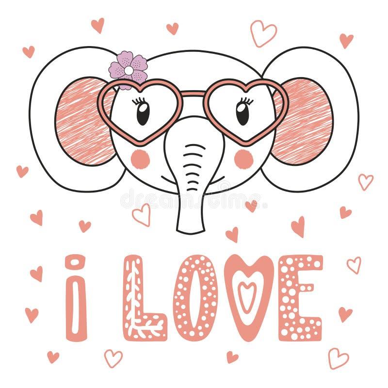 Elefante bonito em vidros dados forma coração ilustração stock