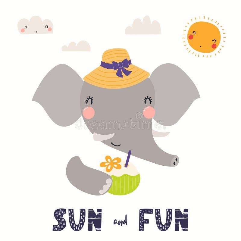 Elefante bonito no verão ilustração royalty free
