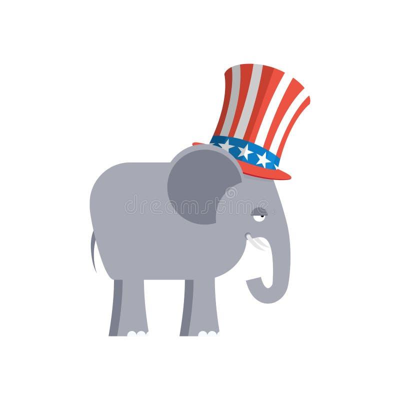 Elefante in cappello di zio Sam Elefante repubblicano Simbolo del politi illustrazione vettoriale