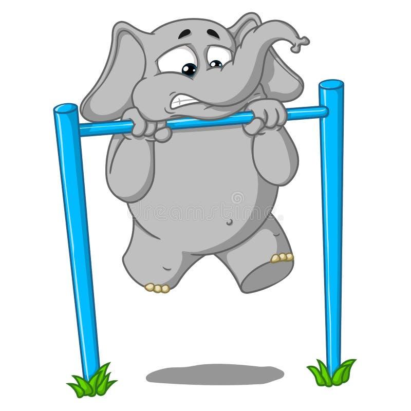 Elefante carattere Pullups sulla barra ` s duro per lui Grande raccolta degli elefanti isolati Vettore, fumetto immagini stock