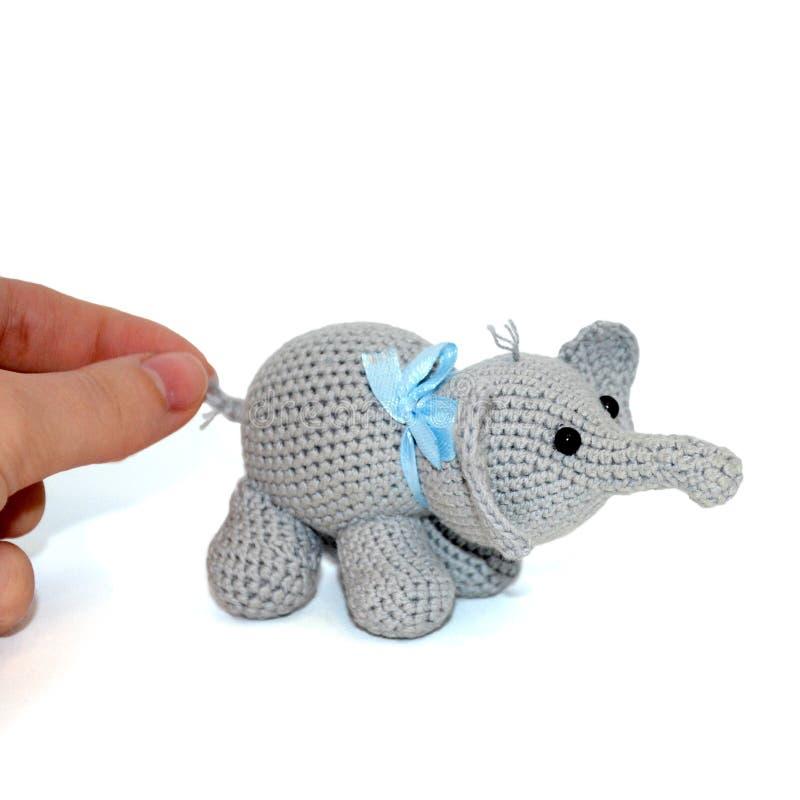 Elefante cinzento feito crochê isolado com uma curva azul no pescoço em um fundo branco A mão fêmea guarda o elefante pela cauda fotos de stock royalty free