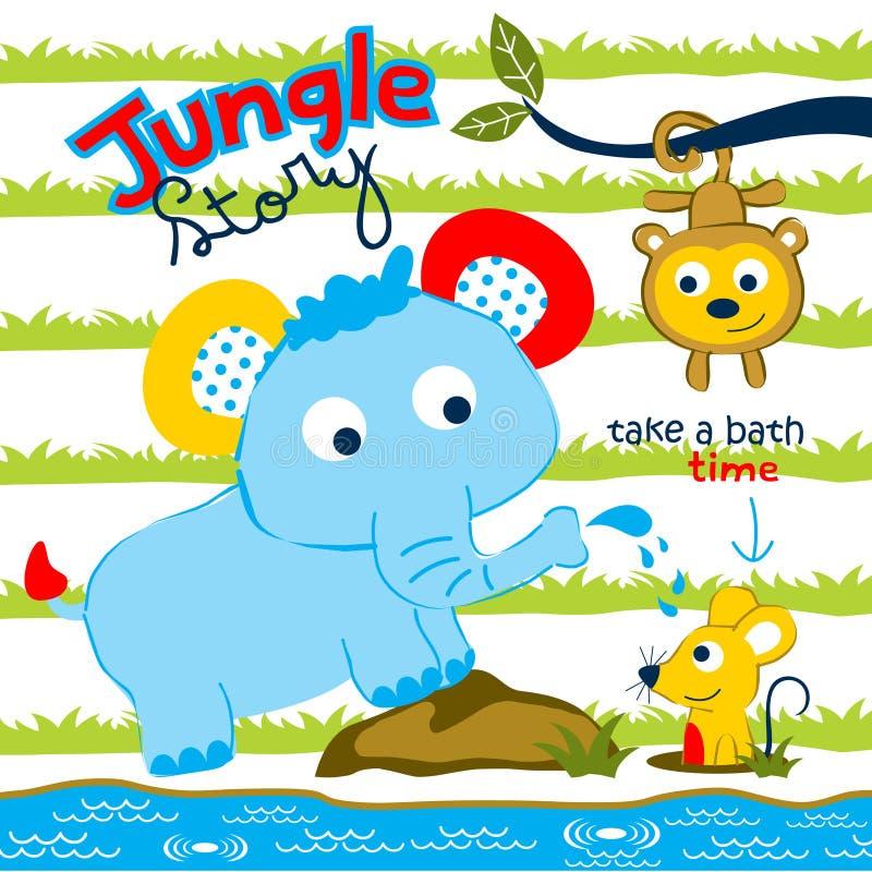 Elefante con el juego del mono y del ratón en la historieta divertida de la selva, ejemplo del vector ilustración del vector
