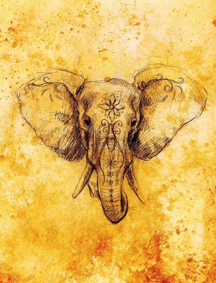 Elefante con el ornamento floral, dibujo de lápiz en el papel Color de la sepia stock de ilustración