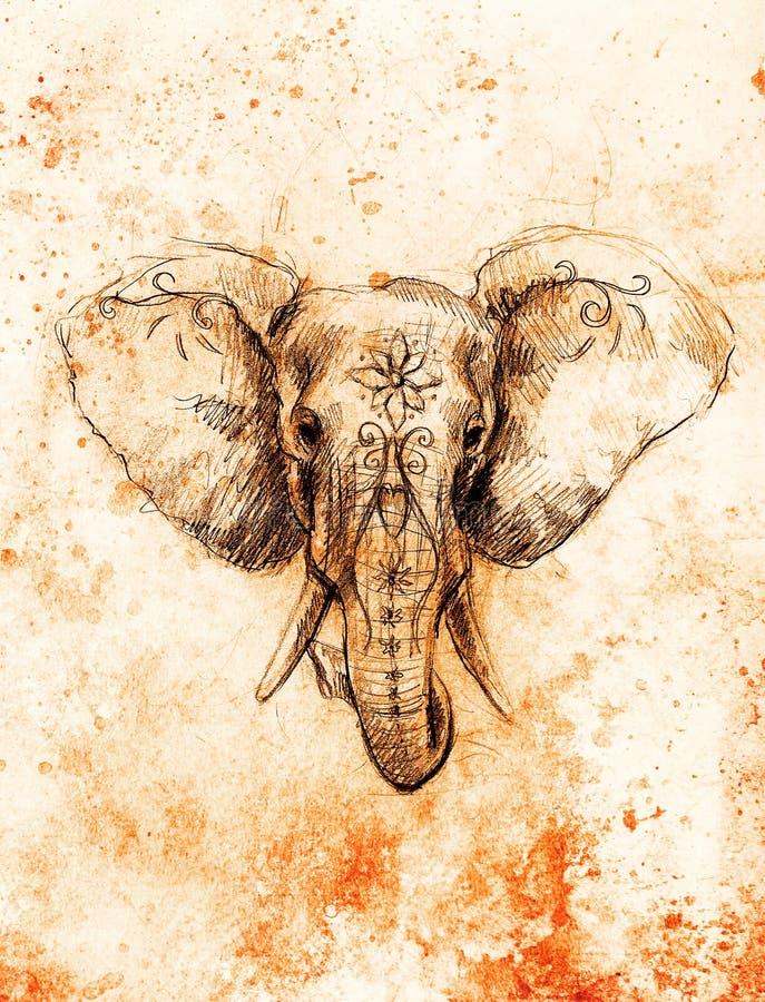 Elefante con el ornamento floral, dibujo de lápiz en el papel Efecto del color y collage del ordenador libre illustration