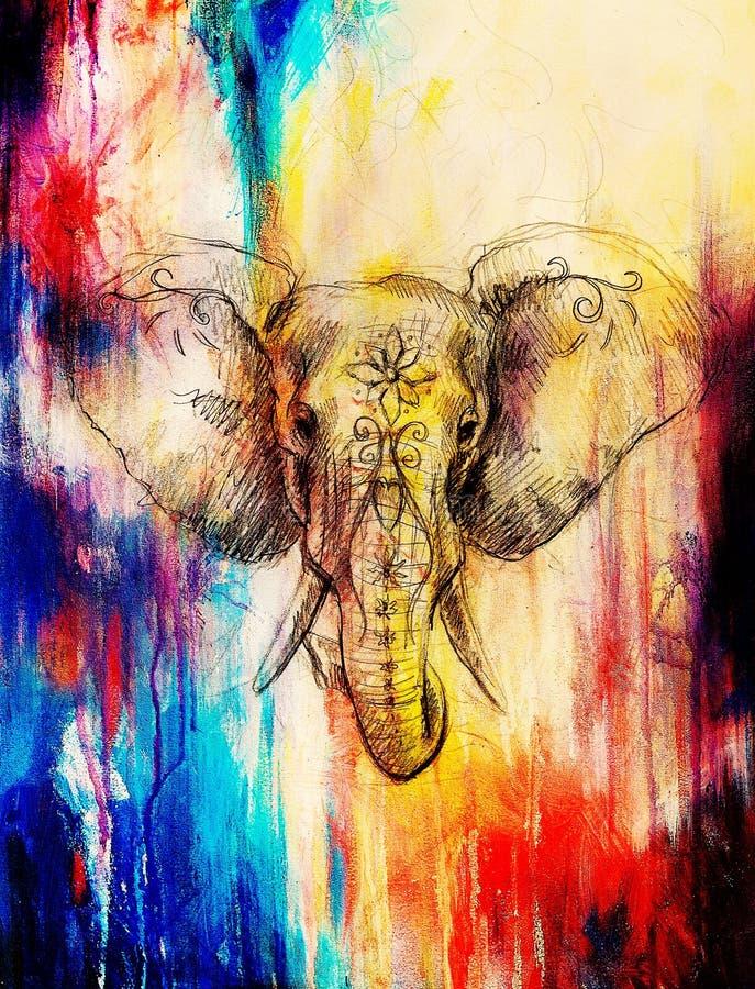 Elefante con el ornamento floral, dibujo de lápiz en el papel Efecto del color y collage del ordenador stock de ilustración