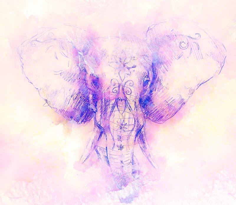Elefante con el ornamento floral, dibujo de lápiz en el papel y efecto del mármol libre illustration