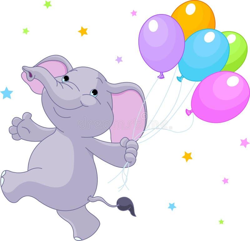 Elefante con gli aerostati royalty illustrazione gratis