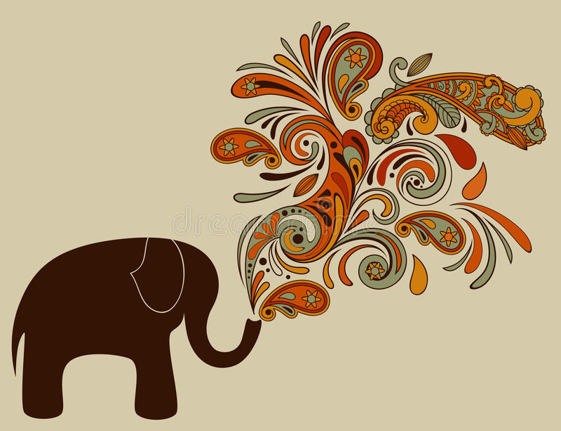 Elefante con il reticolo floreale illustrazione di stock