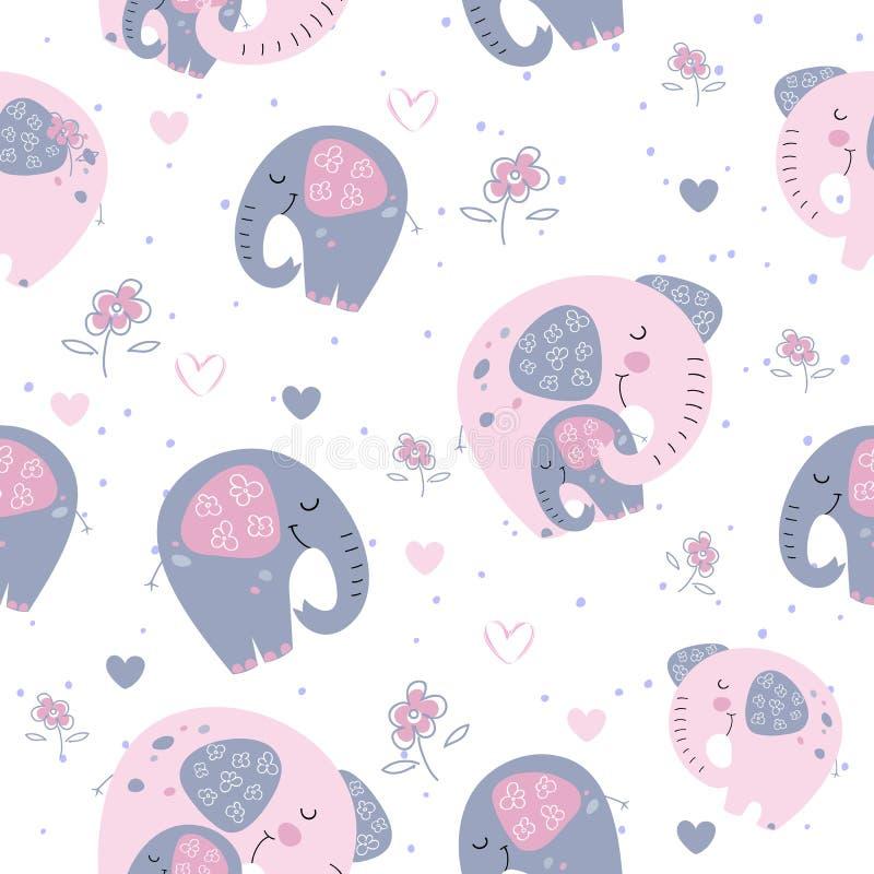 Elefante con un elefante del bambino in uno stile sveglio Sogno dolce iscrizione Vettore illustrazione di stock