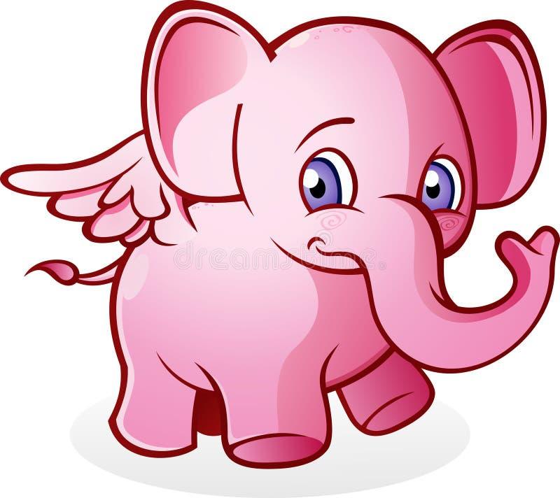 Elefante cor-de-rosa de voo ilustração stock
