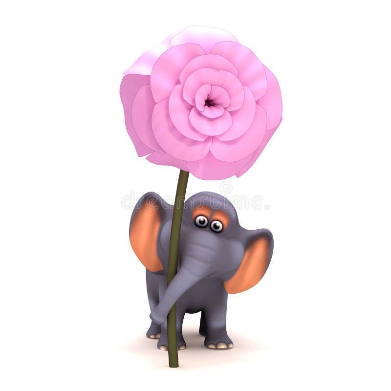 elefante 3d com uma flor cor-de-rosa ilustração royalty free