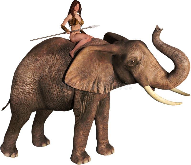 Elefante da menina da selva de Tarzan, ilustração isolada ilustração royalty free