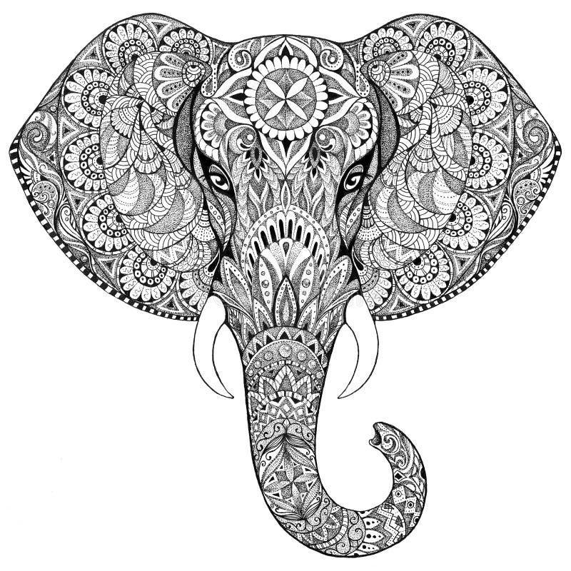 Elefante da tatuagem com testes padrões e ornamento ilustração royalty free