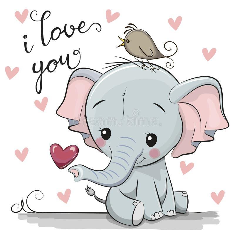 Elefante de la historieta con el corazón en el fondo blanco ilustración del vector