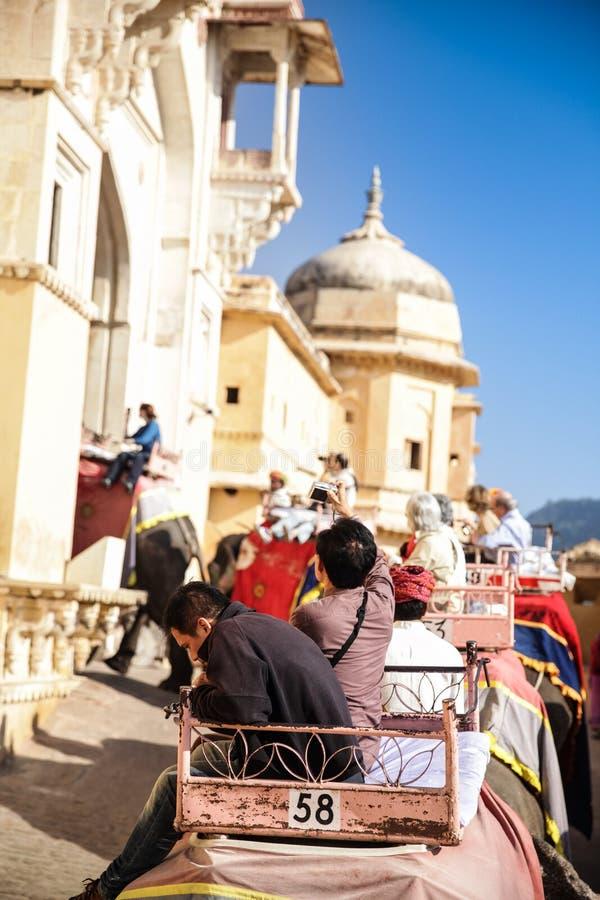 Elefante de la India con paintting colorido con el mahout en el top en Amber Palace, Rajasthán, la India imagen de archivo