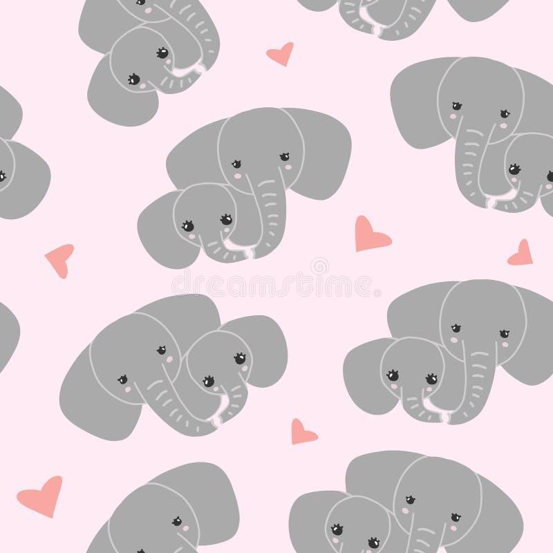 Elefante de la madre con el niño en fondo rosado Modelo de la familia del elefante libre illustration