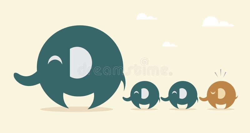 Elefante de la madre y elefante del bebé ilustración del vector