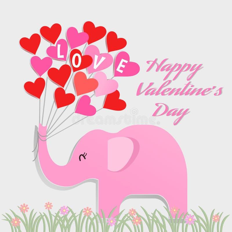 Elefante de papel del estilo del arte con el globo de la forma del corazón, concepto del día de tarjeta del día de San Valentín ilustración del vector