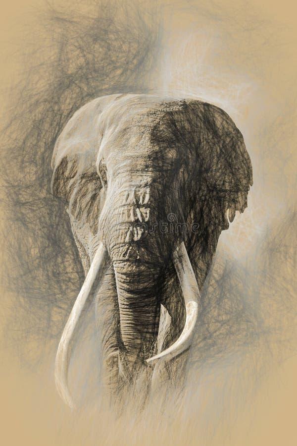 Elefante de toro tusked gigante en Amboseli, Kenia stock de ilustración
