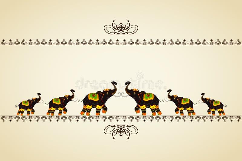 Elefante decorado que mostra a cultura indiana ilustração do vetor