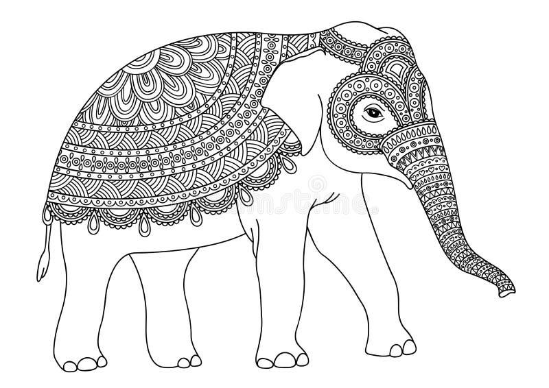 Elefante decorativo in bianco e nero illustrazione di stock