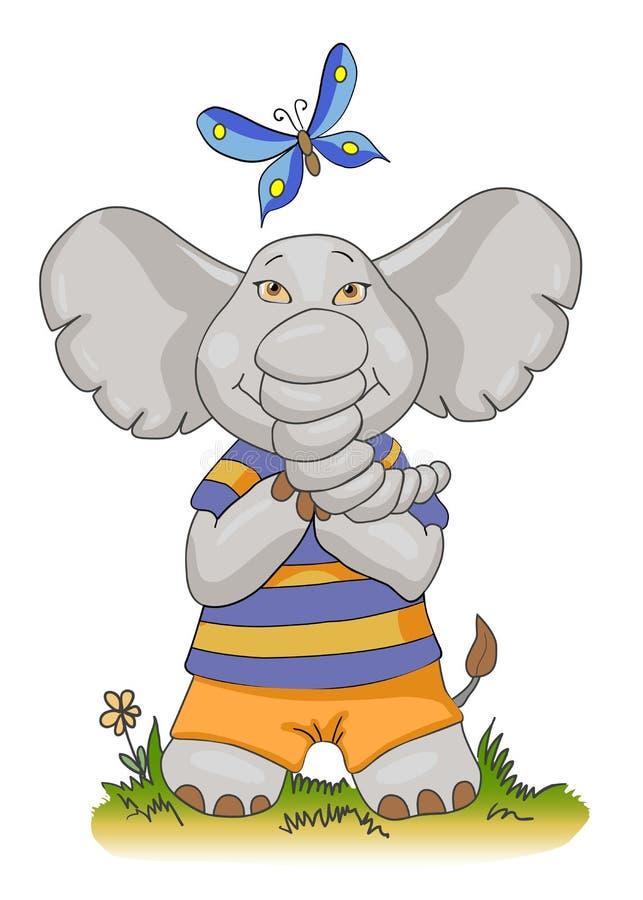 Elefante del bambino del fumetto con la farfalla illustrazione di stock