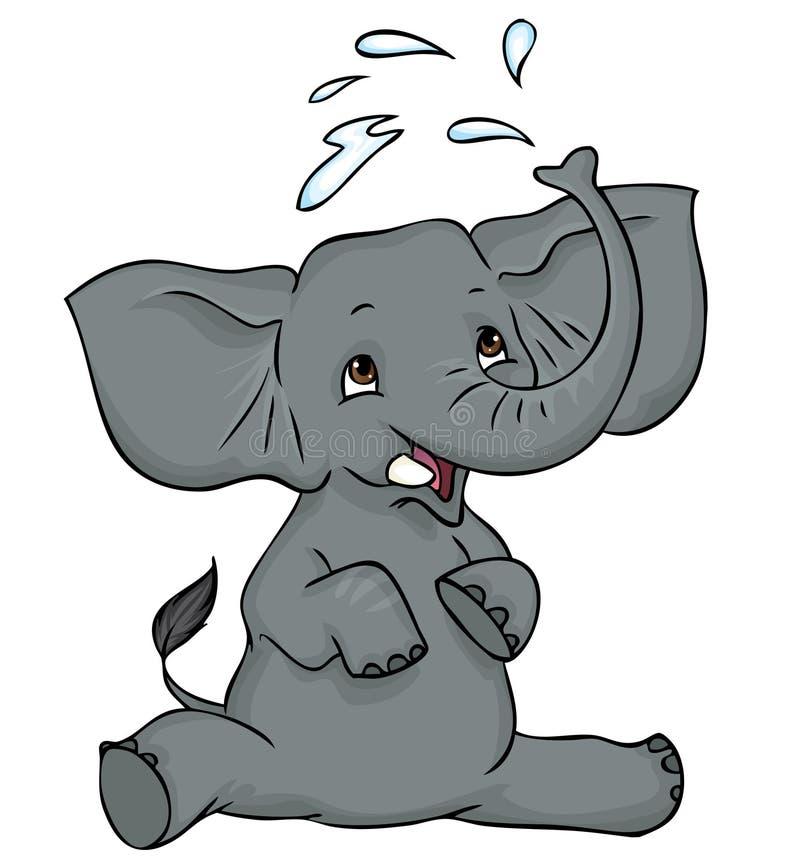 Elefante del bebé que salpica el agua ilustración del vector