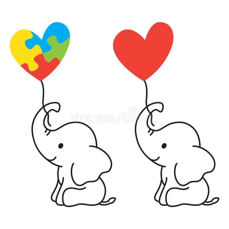 Elefante del bebé que sostiene un globo de la forma del corazón con el ejemplo del vector del símbolo de la conciencia del autism stock de ilustración