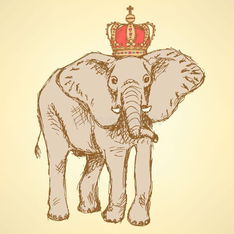 Download Elefante Del Bosquejo En La Corona, Fondo Del Vector Ilustración del Vector - Ilustración de corona, asiático: 42444849