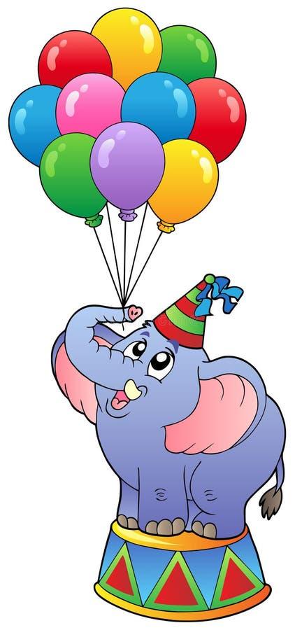 Elefante del circo con gli aerostati 1 illustrazione vettoriale