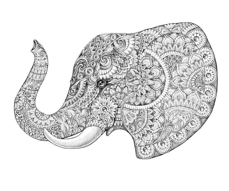 Elefante del perfil del tatuaje con los modelos y los ornamentos stock de ilustración