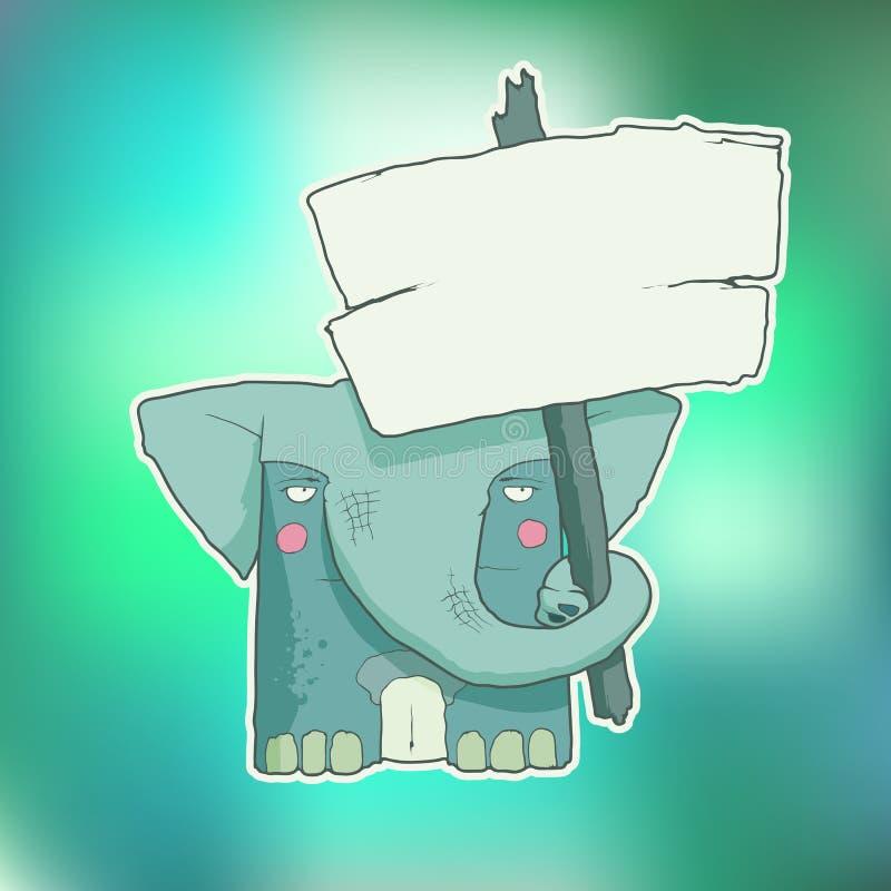 Elefante del personaje de dibujos animados con el cartel de madera libre illustration