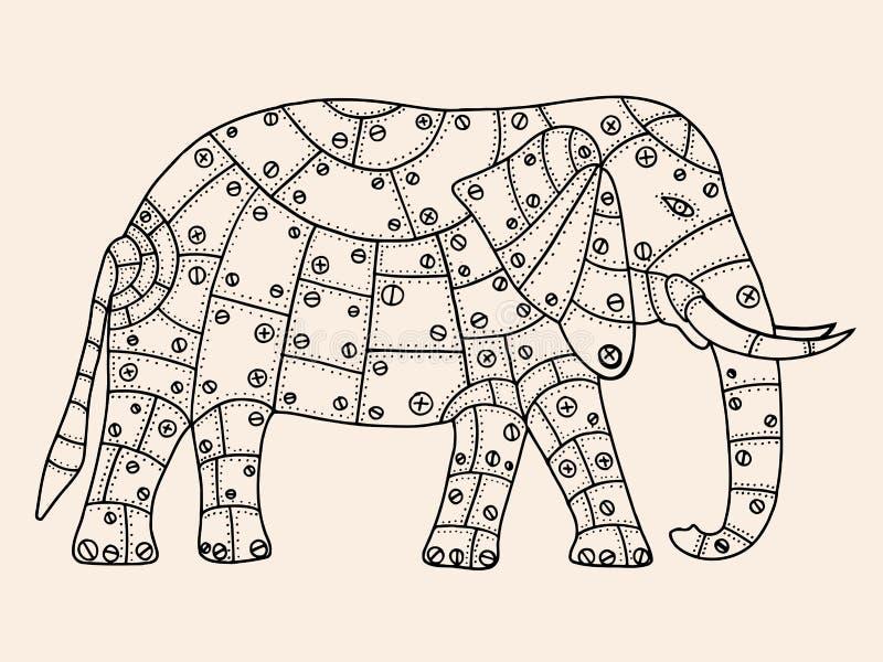 Elefante dibujado mano ilustración del vector