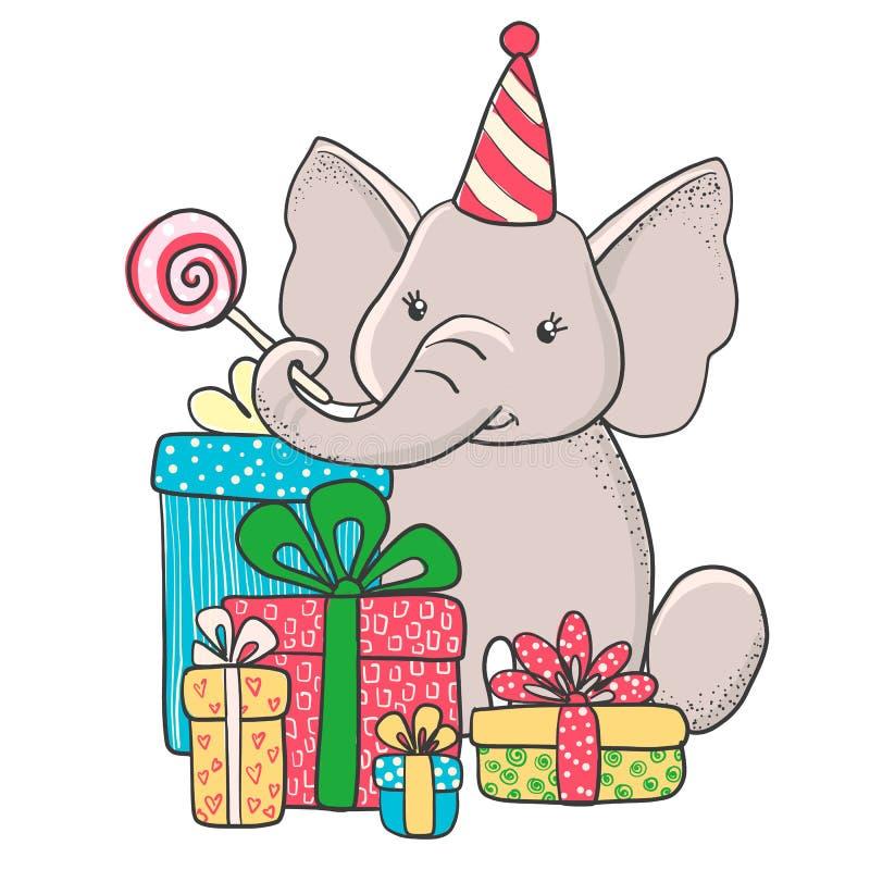 Elefante dibujado mano linda con los regalos stock de ilustración