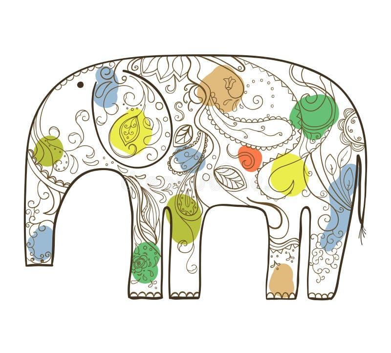 Elefante disegnato a mano di vettore con il modello floreale. royalty illustrazione gratis