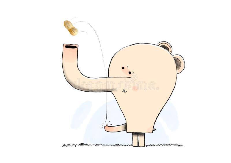 Elefante divertido de la historieta que come una nuez ejemplo del elefante rosado en el fondo blanco libre illustration