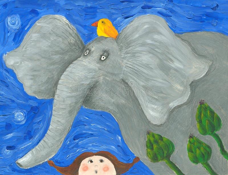 Elefante divertido y niña sorprendida stock de ilustración