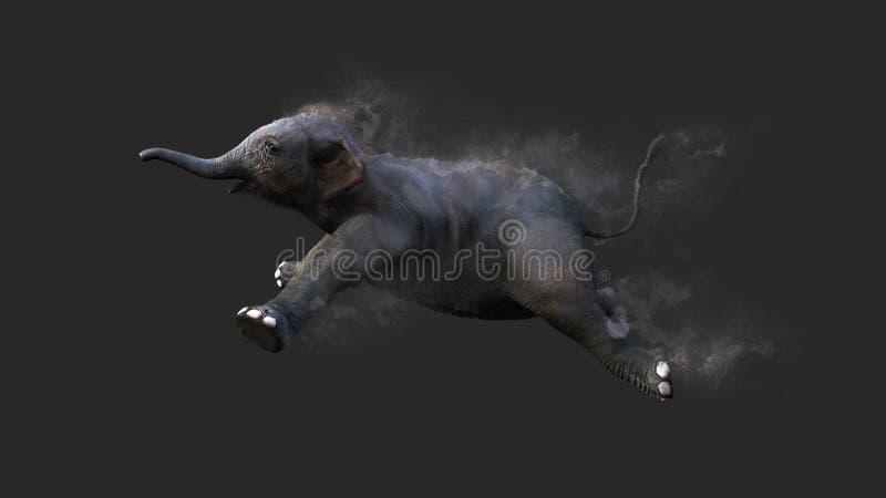 Elefante do bebê que move-se e que salta com efeito da partícula de poeira ilustração royalty free