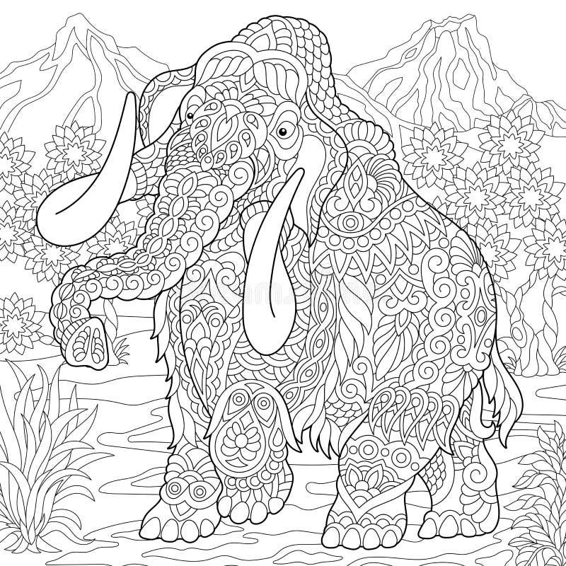 Elefante do mammoth de Zentangle ilustração royalty free
