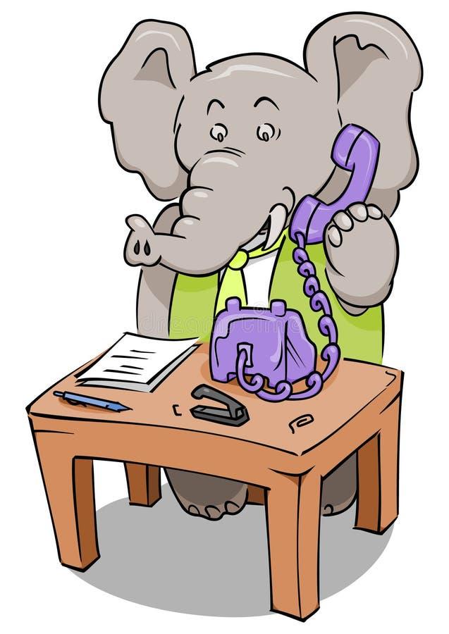 Elefante do telefone do caixeiro ilustração stock