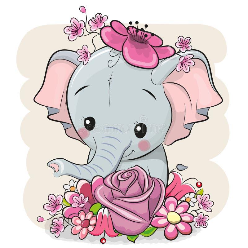 Elefante dos desenhos animados com flowerson um fundo branco ilustração royalty free