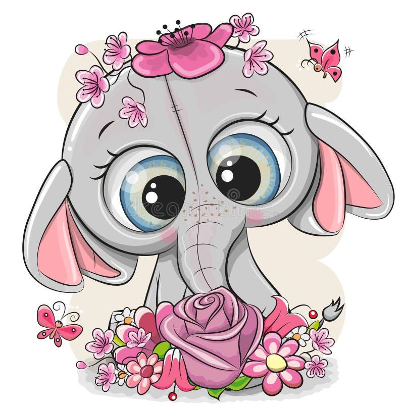 Elefante dos desenhos animados com flowerson um fundo branco ilustração do vetor