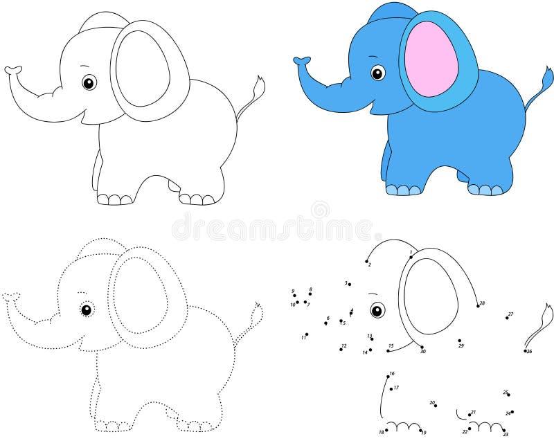 Elefante dos desenhos animados Ilustração do vetor Ponto para pontilhar o jogo para crianças ilustração royalty free