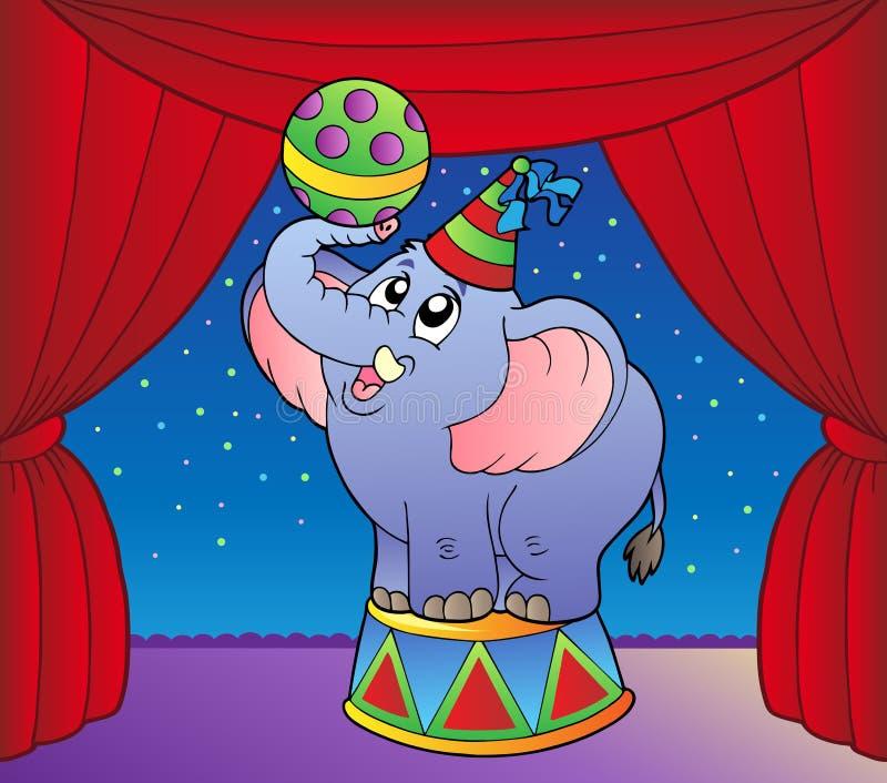Elefante dos desenhos animados no estágio 1 do circo ilustração stock