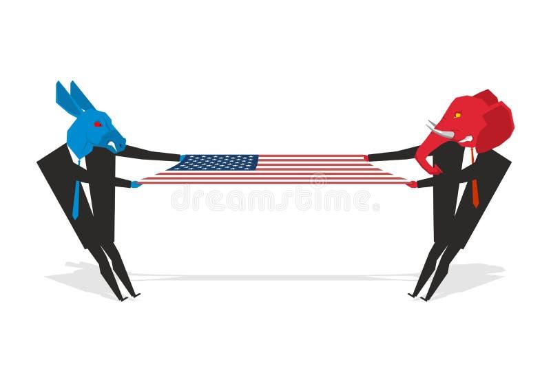 Elefante e bandeira americana puxada asno Democratas e república ilustração do vetor