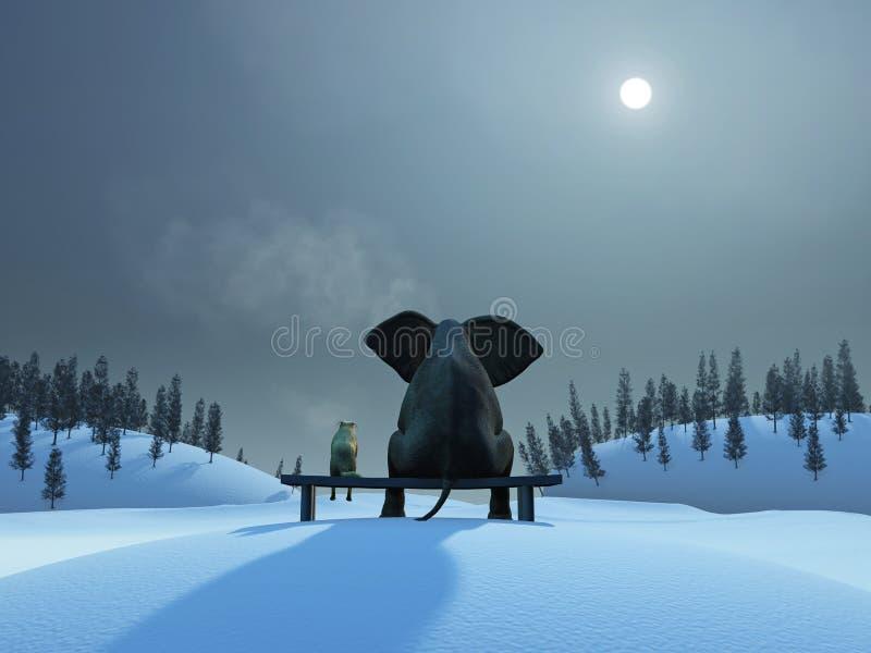 Elefante e cão na noite de Natal
