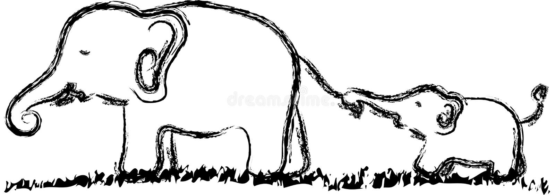 Elefante e criança ilustração do vetor