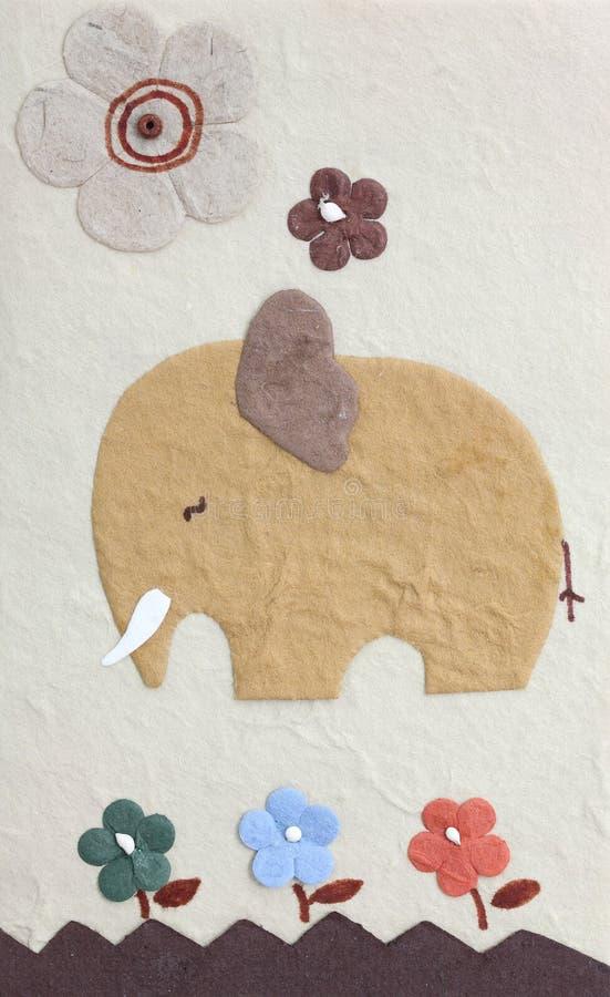 Elefante e flor de Papercraft foto de stock royalty free