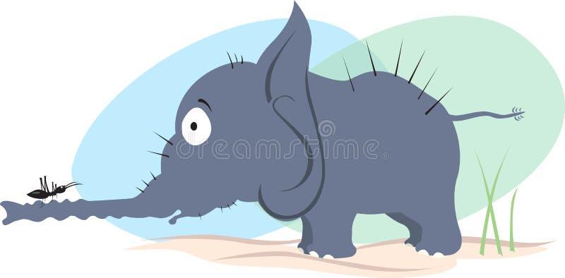 Elefante e formiga ilustração royalty free
